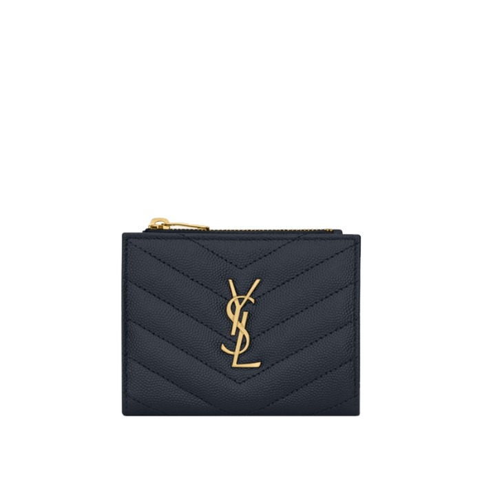 유럽직배송 생로랑 모노그램 지퍼 카드 지갑 YSL MONOGRAM ZIPPERED CARD CASE IN GRAIN DE POUDRE EMBOSSED LEATHER 575879BOW011251