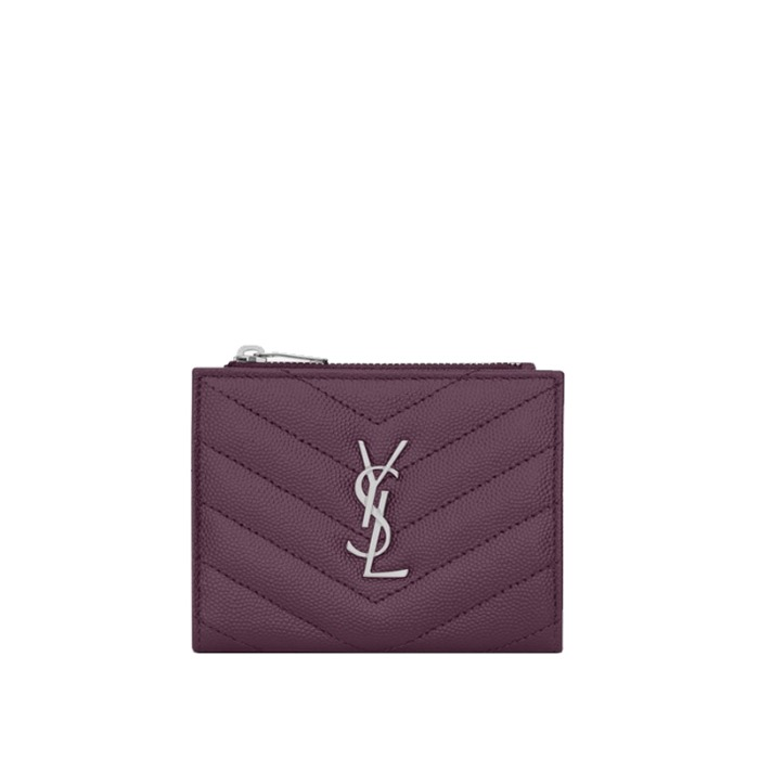 유럽직배송 생로랑 모노그램 지퍼 카드 지갑 YSL MONOGRAM ZIPPERED CARD CASE IN QUILTED GRAIN DE POUDRE EMBOSSED LEATHER 575879BOW025206