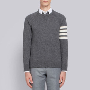 유럽직배송 톰브라운 스웨터 그레이 THOM BROWNE FULLY FASHIONED FRENCH TERRY CREWNECK SWEATSHIRT WITH 4-BAR STRIPE IN GREY CASHMERE