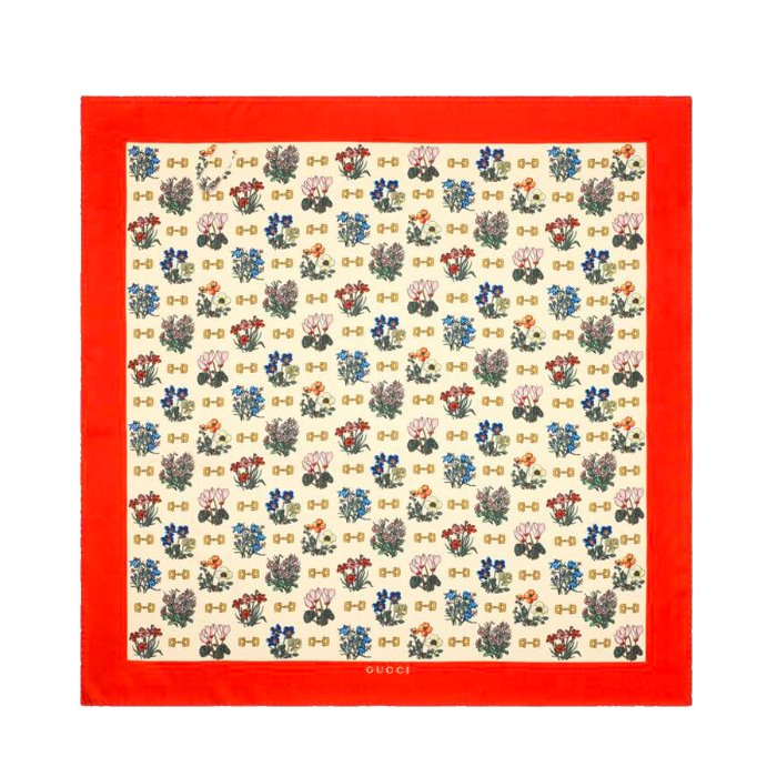 유럽직배송 구찌 실크 스카프 GUCCI SCARF WITH FLOWERS AND STIRRUPS PRINT 565249 3G001 9274