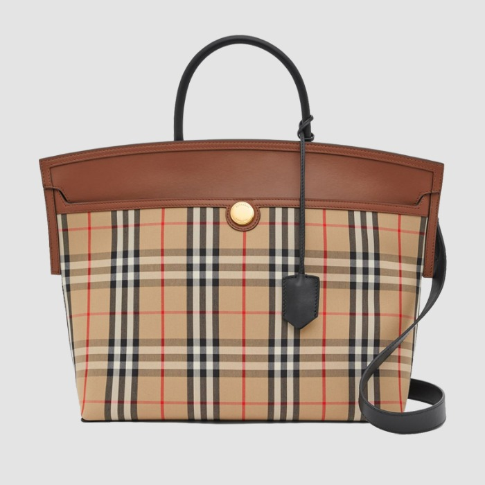 유럽직배송 버버리 빈티지 체크 토트백 BURBERRY Vintage Check and Leather Society Top Handle Bag 80230191