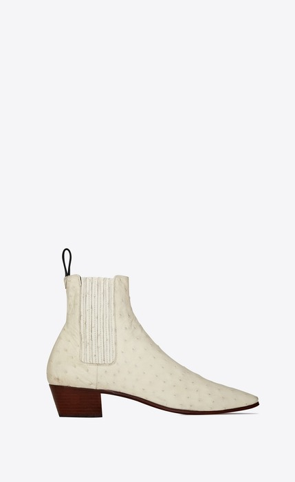 유럽직배송 입생로랑 SAINT LAURENT DYLAN chelsea boots in ostrich leather 605001LVO001902