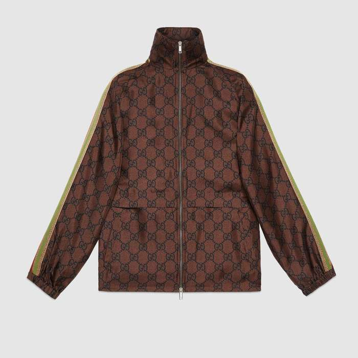 유럽직배송 구찌 GUCCI Gucci GG Supreme print silk zip-up jacket 625007XJCL52138