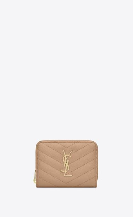 유럽직배송 입생로랑 SAINT LAURENT monogram compact zip around wallet in grain de poudre embossed leather 403723BOW012721