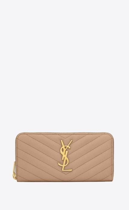 유럽직배송 입생로랑 SAINT LAURENT monogram zip around wallet in grain de poudre embossed leather 358094BOW012721