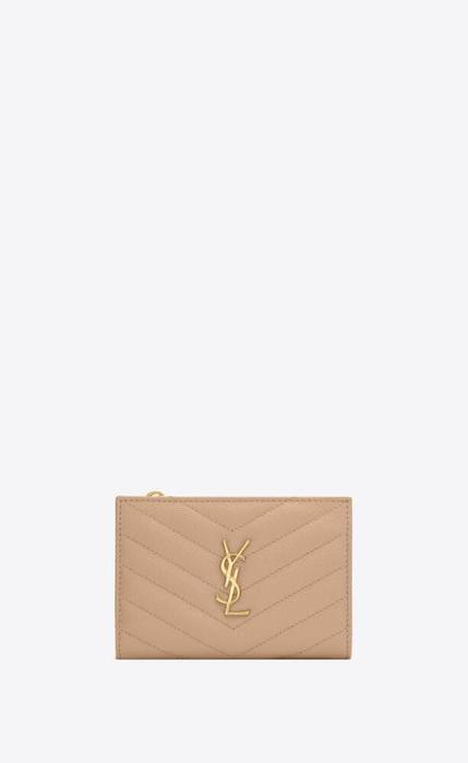 유럽직배송 입생로랑 SAINT LAURENT monogram zippered two-part wallet in grain de poudre embossed leather 575974BOW012721