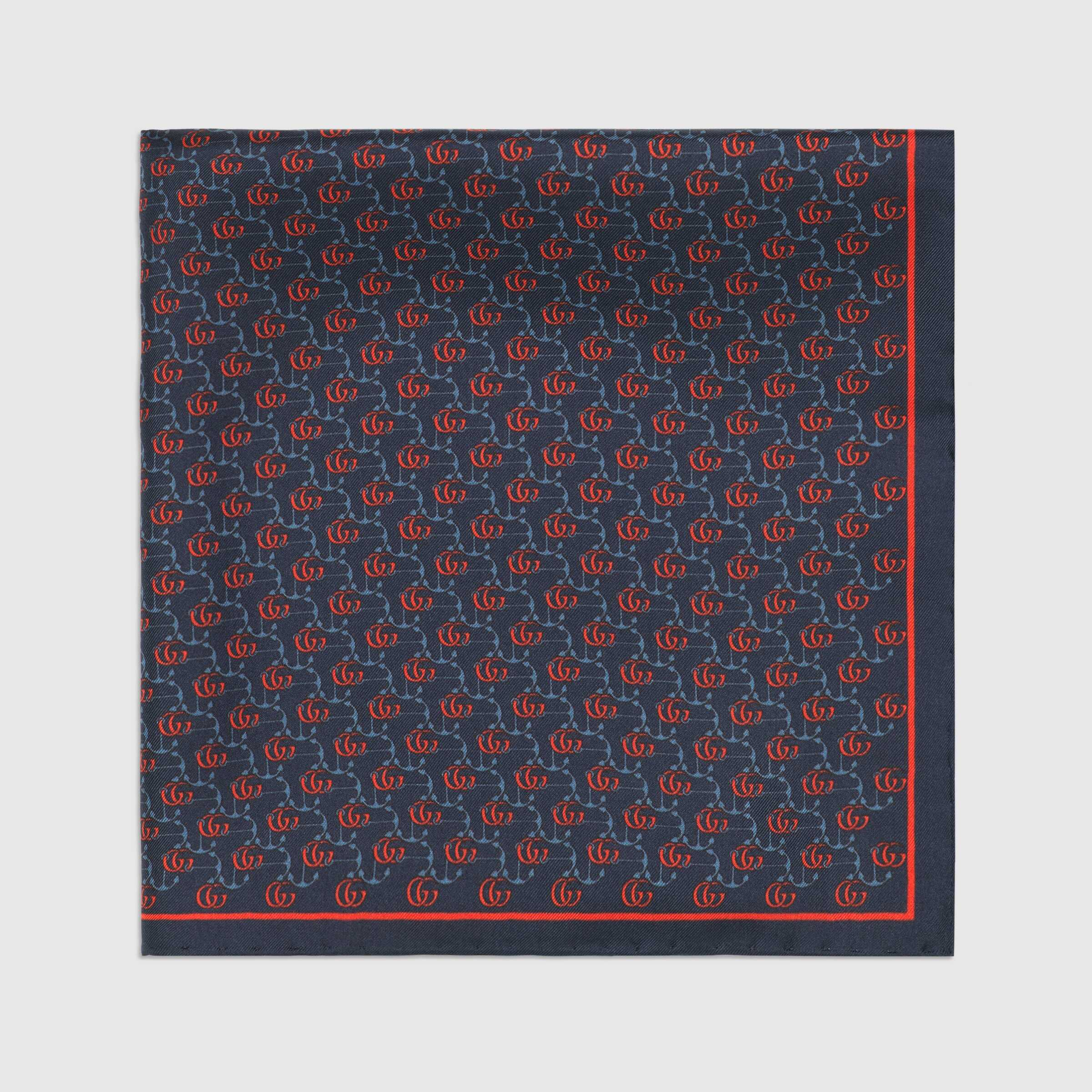유럽직배송 구찌 GUCCI Double G and anchors silk pocket square 5972794G0014069