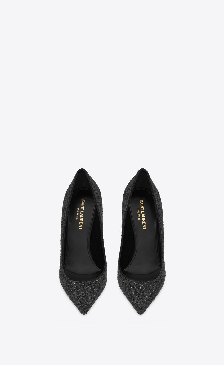 유럽직배송 입생로랑 SAINT LAURENT OPYUM pumps in crystal-decorated suede with a black heel 578947C20VV1000