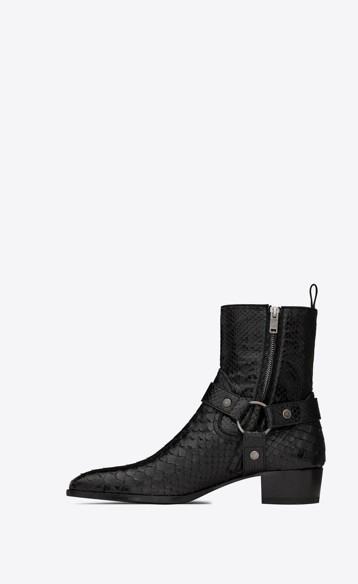 유럽직배송 입생로랑 SAINT LAURENT WYATT harness boots in lacquered python 528399EM7701000