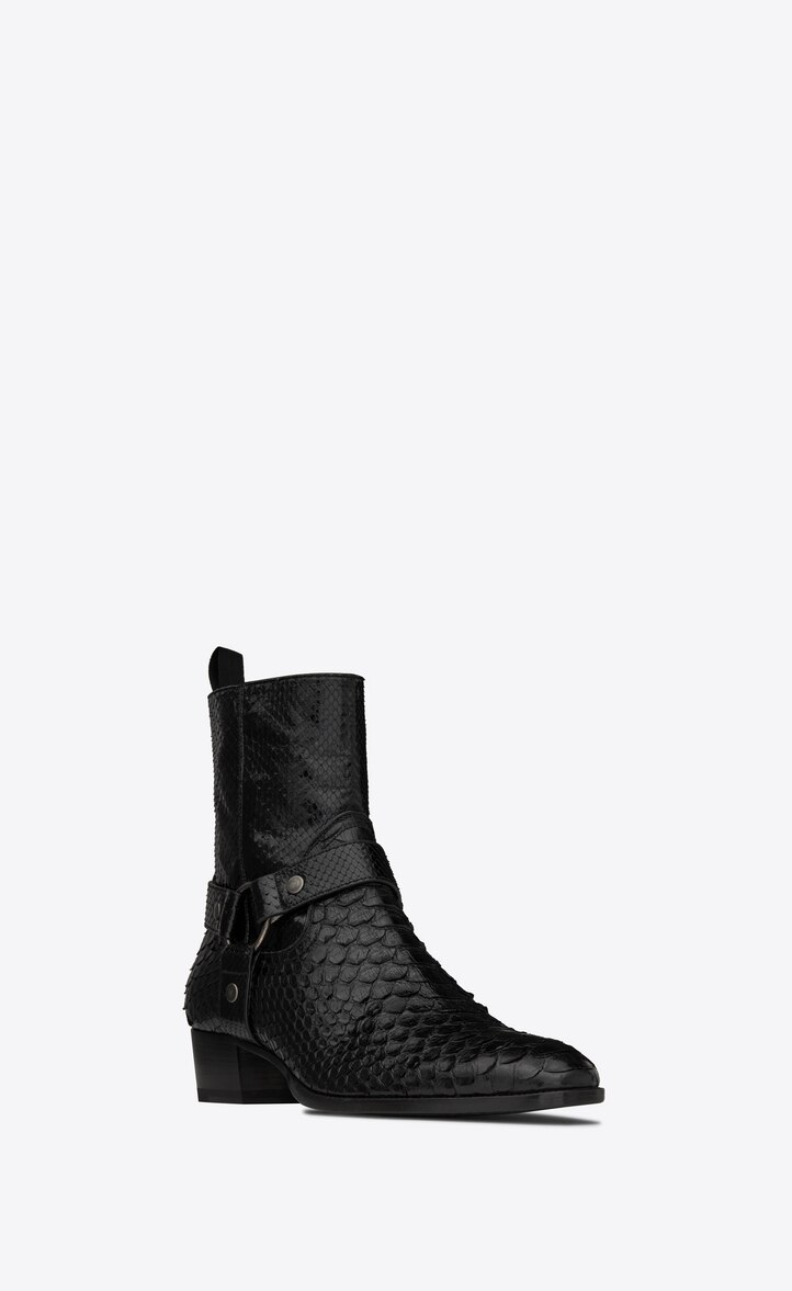 유럽직배송 입생로랑 SAINT LAURENT WYATT harness boots in lacquered python 528399EM7701000