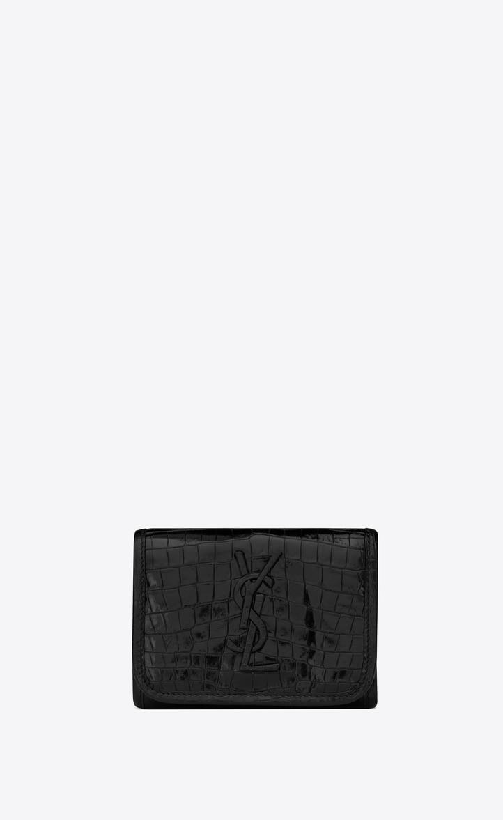 유럽직배송 입생로랑 SAINT LAURENT NIKI Compact wallet in crocodile-embossed vintage leather 6064951QP3D1000