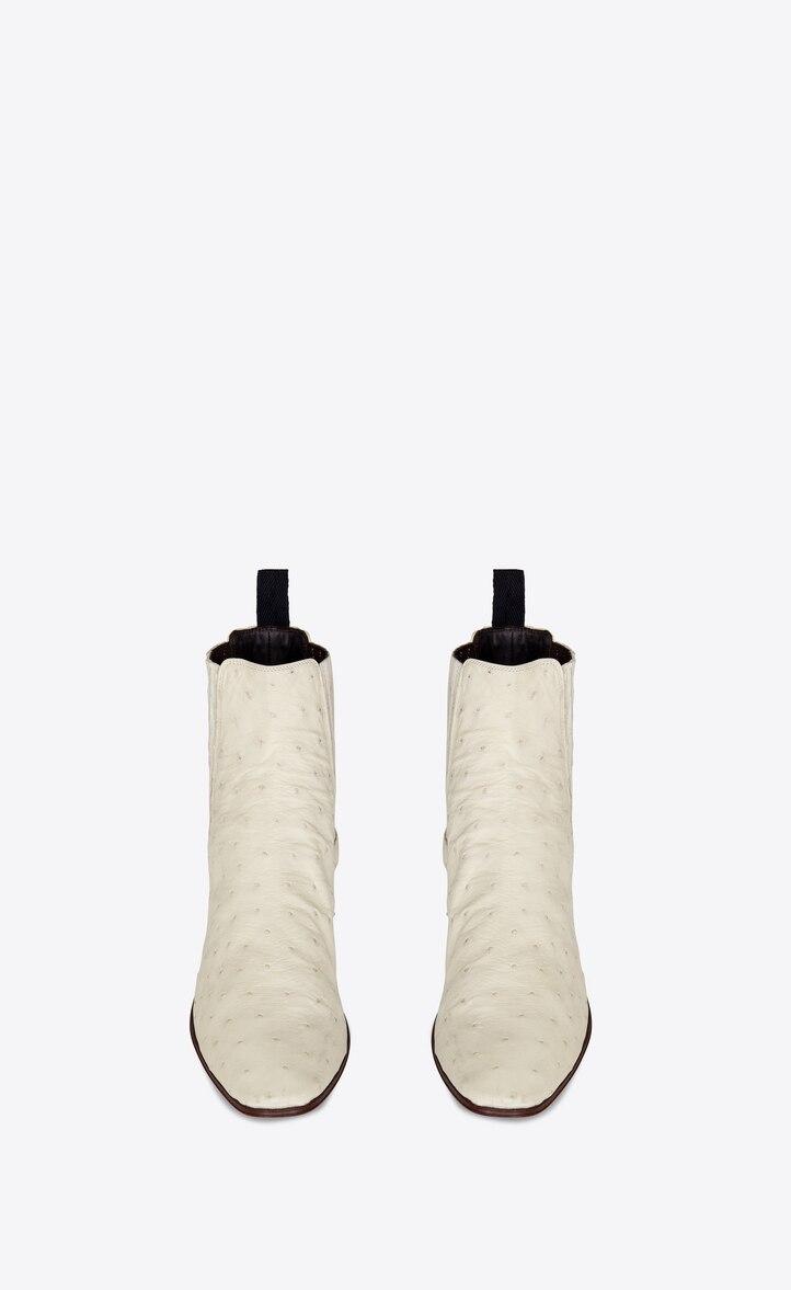 유럽직배송 입생로랑 SAINT LAURENT DYLAN chelsea boots in ostrich leather 605001LVO001902