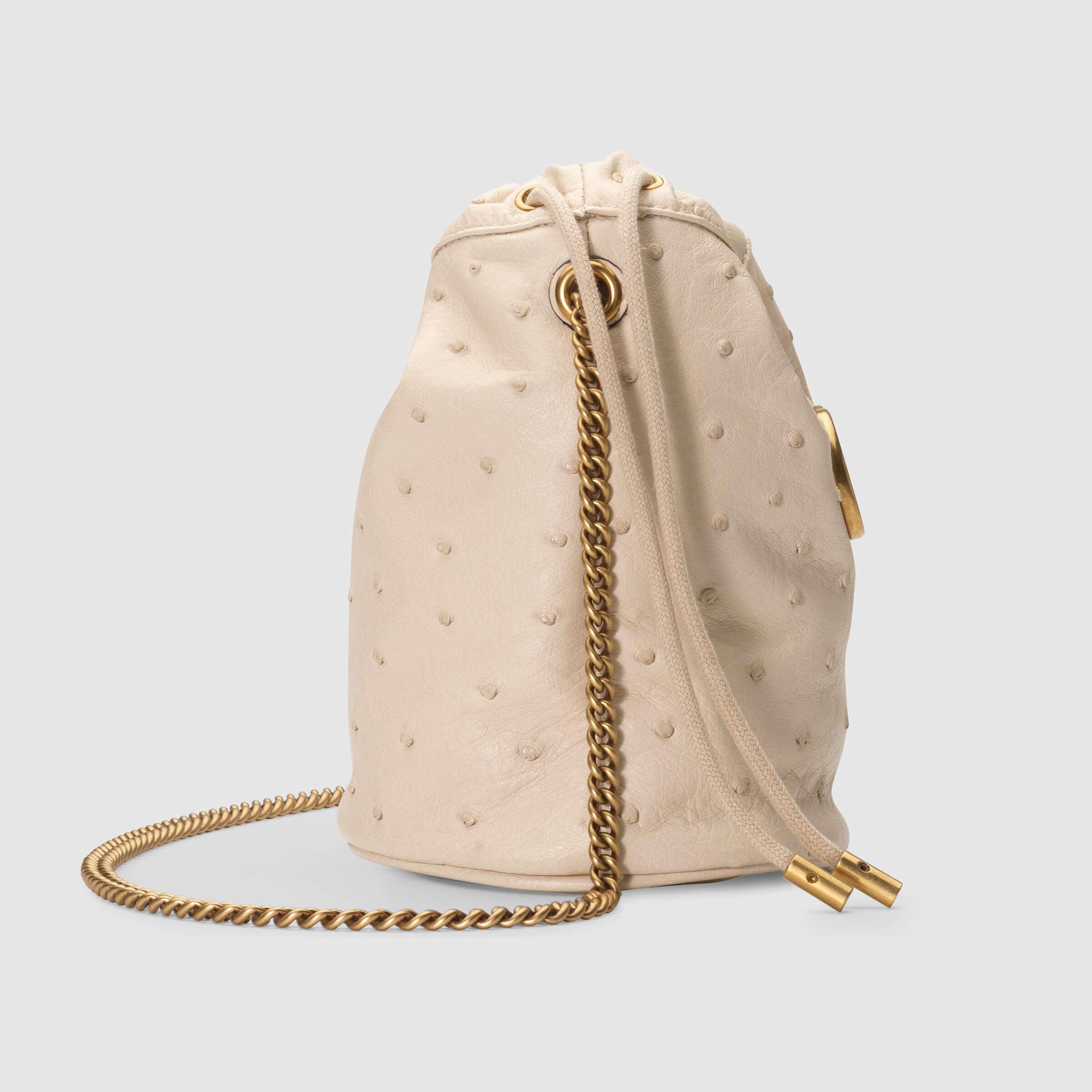 유럽직배송 구찌 GUCCI Gucci GG Marmont ostrich mini bucket bag 575163EY0BT9522