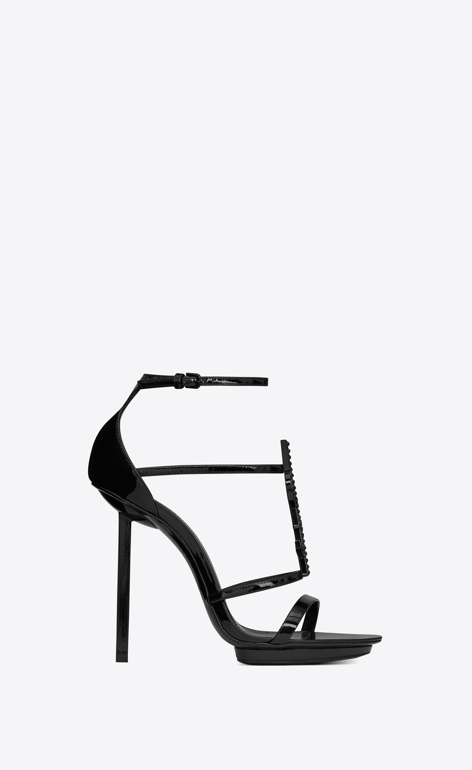 유럽직배송 입생로랑 SAINT LAURENT CASSANDRA platform sandals in patent leather with black logo and crystals 6215350NPVV1000