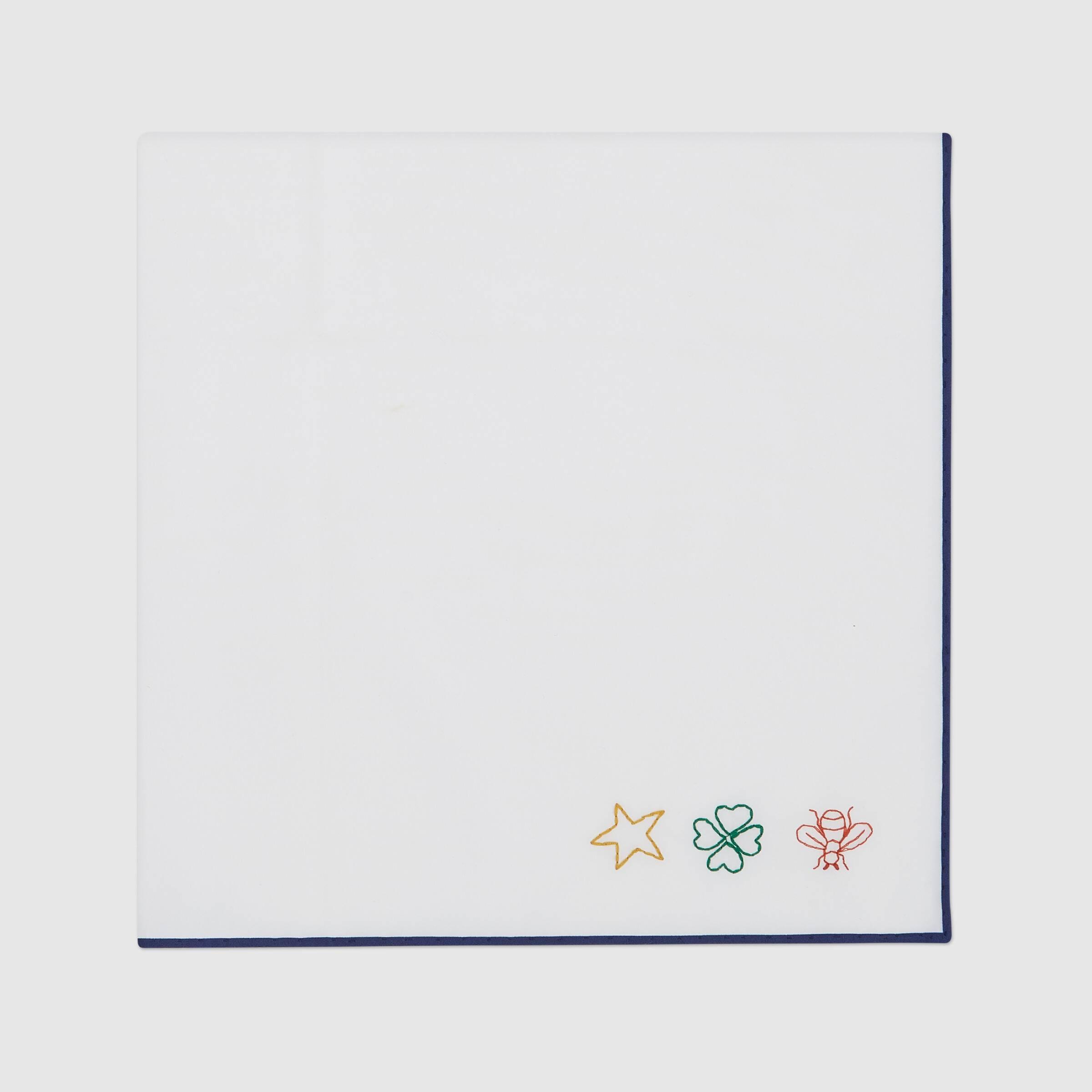 유럽직배송 구찌 GUCCI Gucci Cotton pocket square with embroidery 6248074G1019068