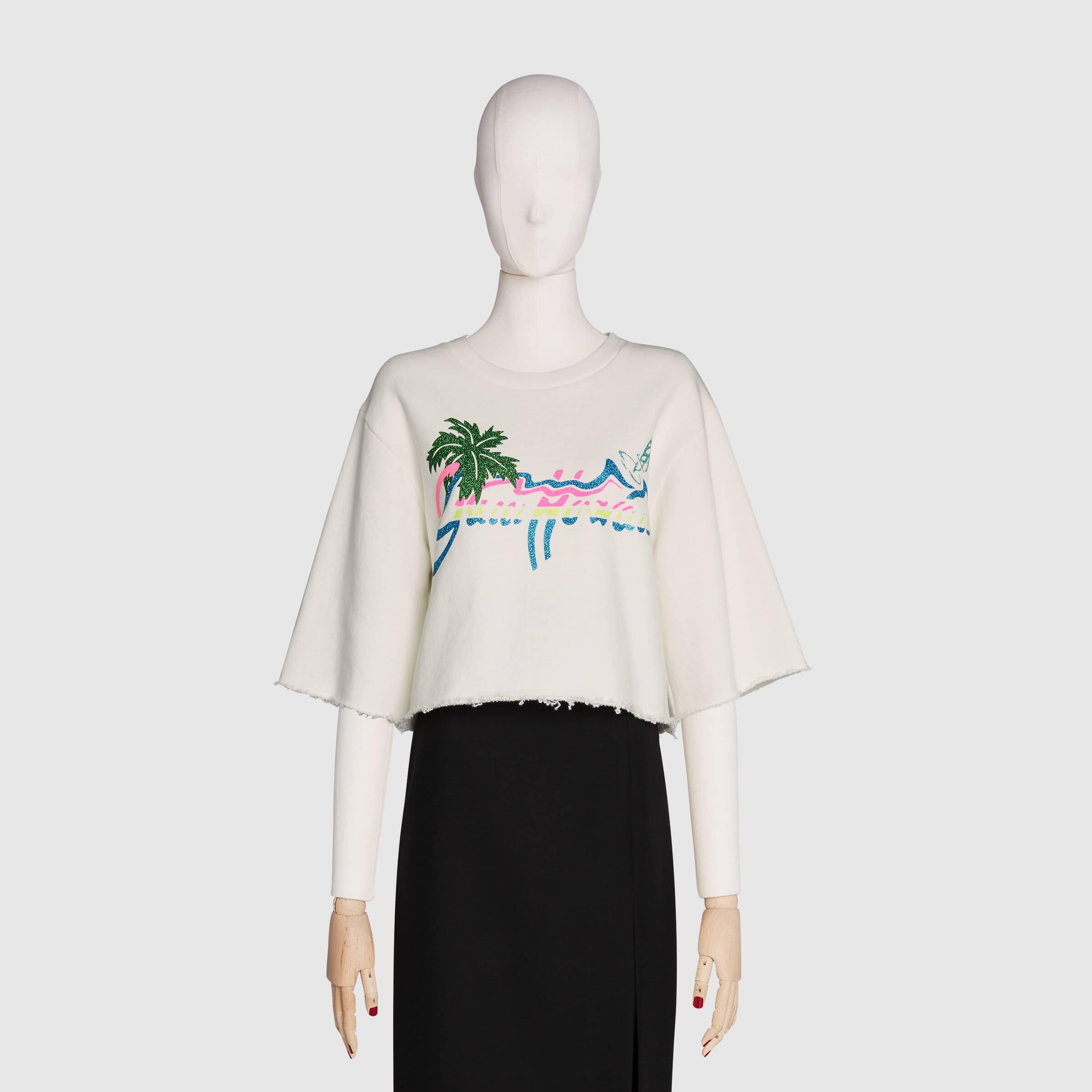 유럽직배송 구찌 GUCCI Gucci - Gucci Hawaii print cropped sweatshirt 624626XJCUE9095