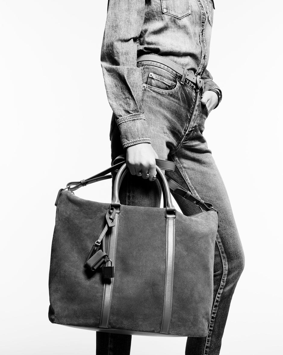 유럽직배송 입생로랑 SAINT LAURENT DUFFLE Supple SAC DE JOUR  in suede and leather 6235870UDMW1000