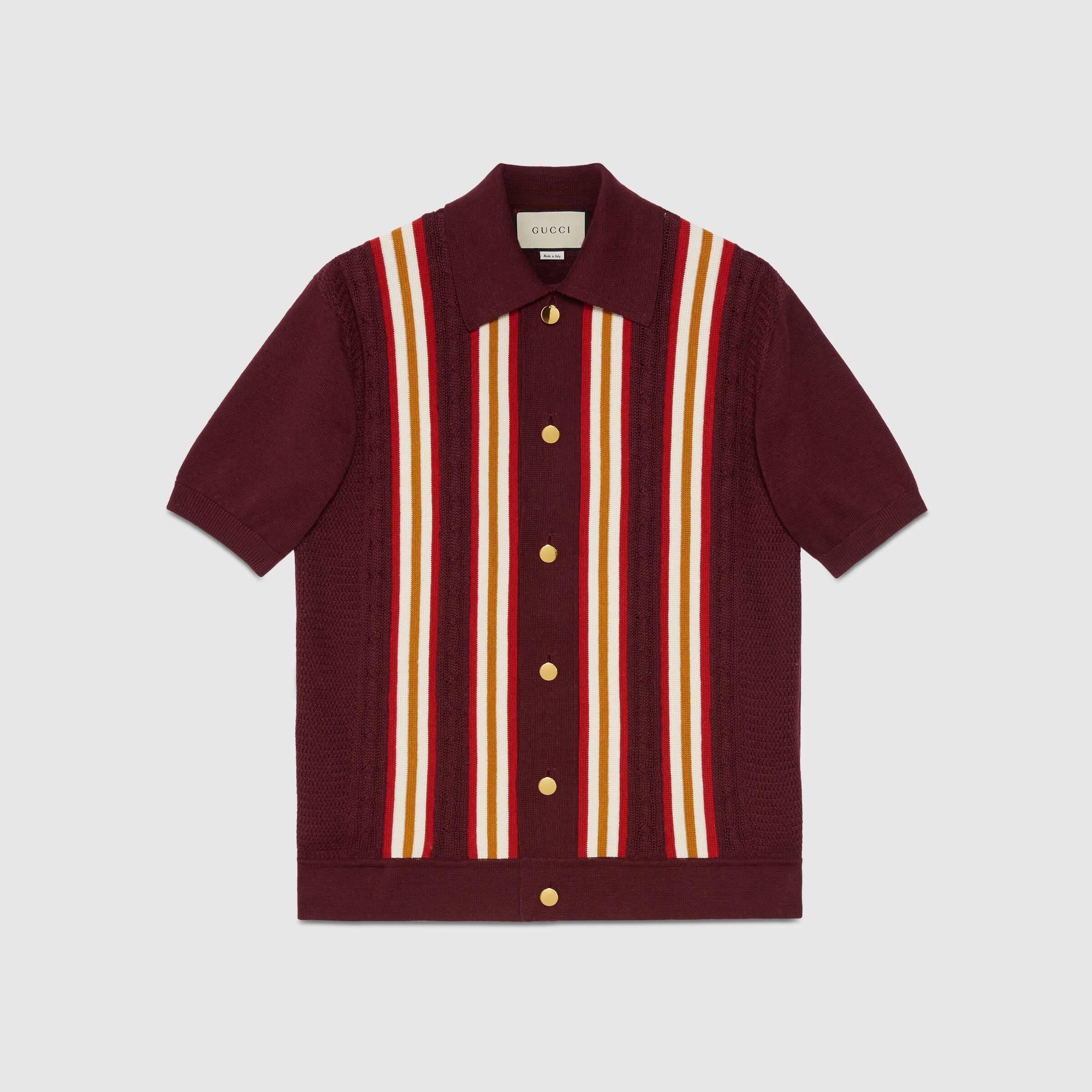 유럽직배송 구찌 GUCCI Gucci Cotton linen cable knit polo 614687XKA9Z6064