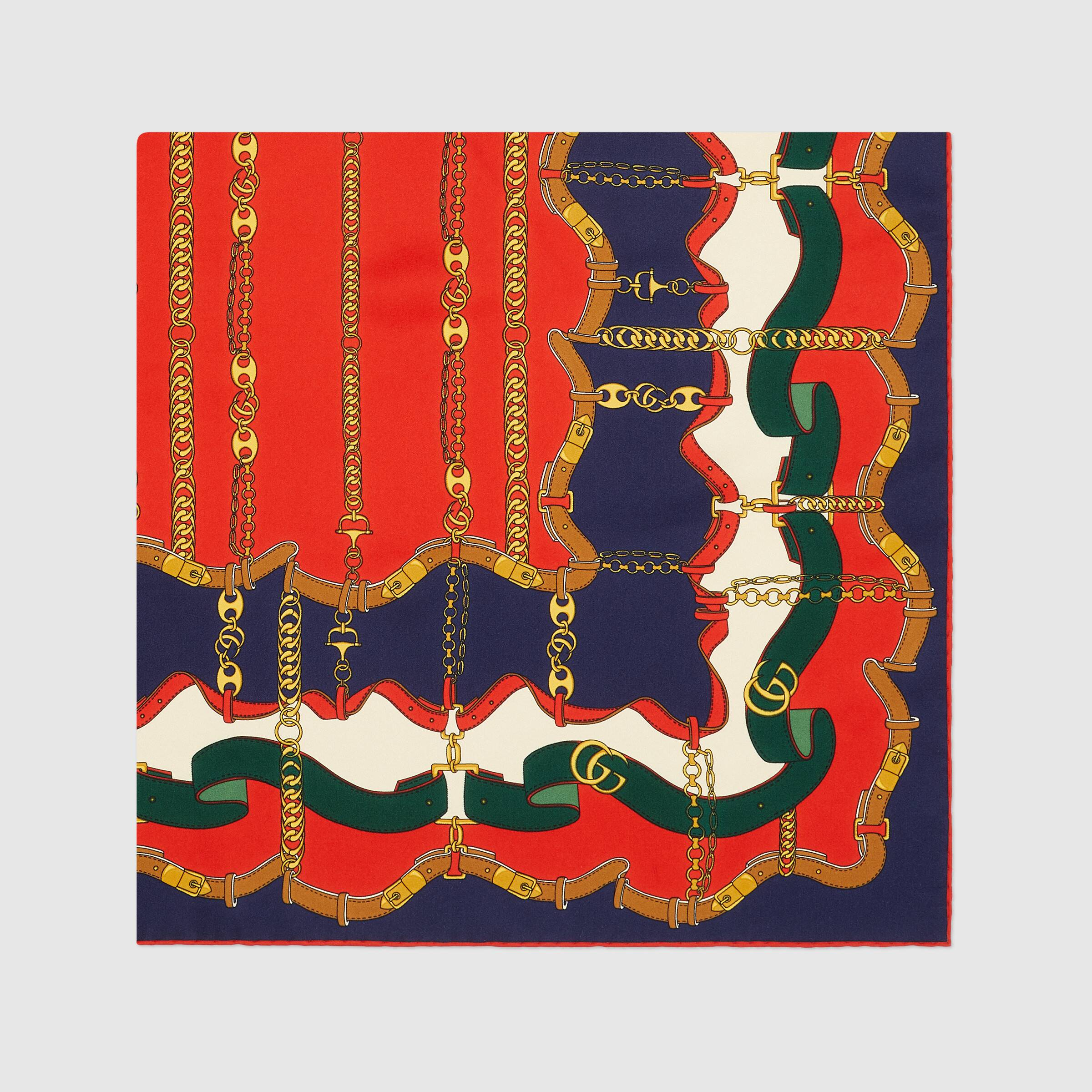 유럽직배송 구찌 GUCCI Gucci Marina chain print silk scarf 6248304G0014174