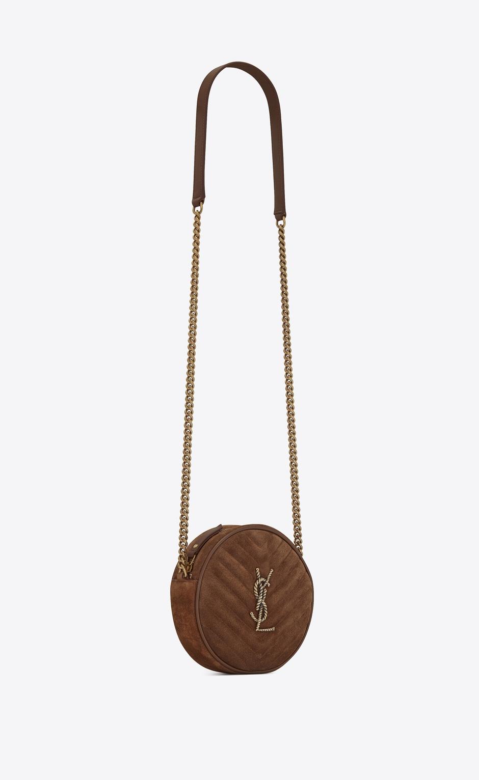 유럽직배송 입생로랑 SAINT LAURENT VINYLE round camera bag with rope monogram in quilted suede 6405501ZT472759