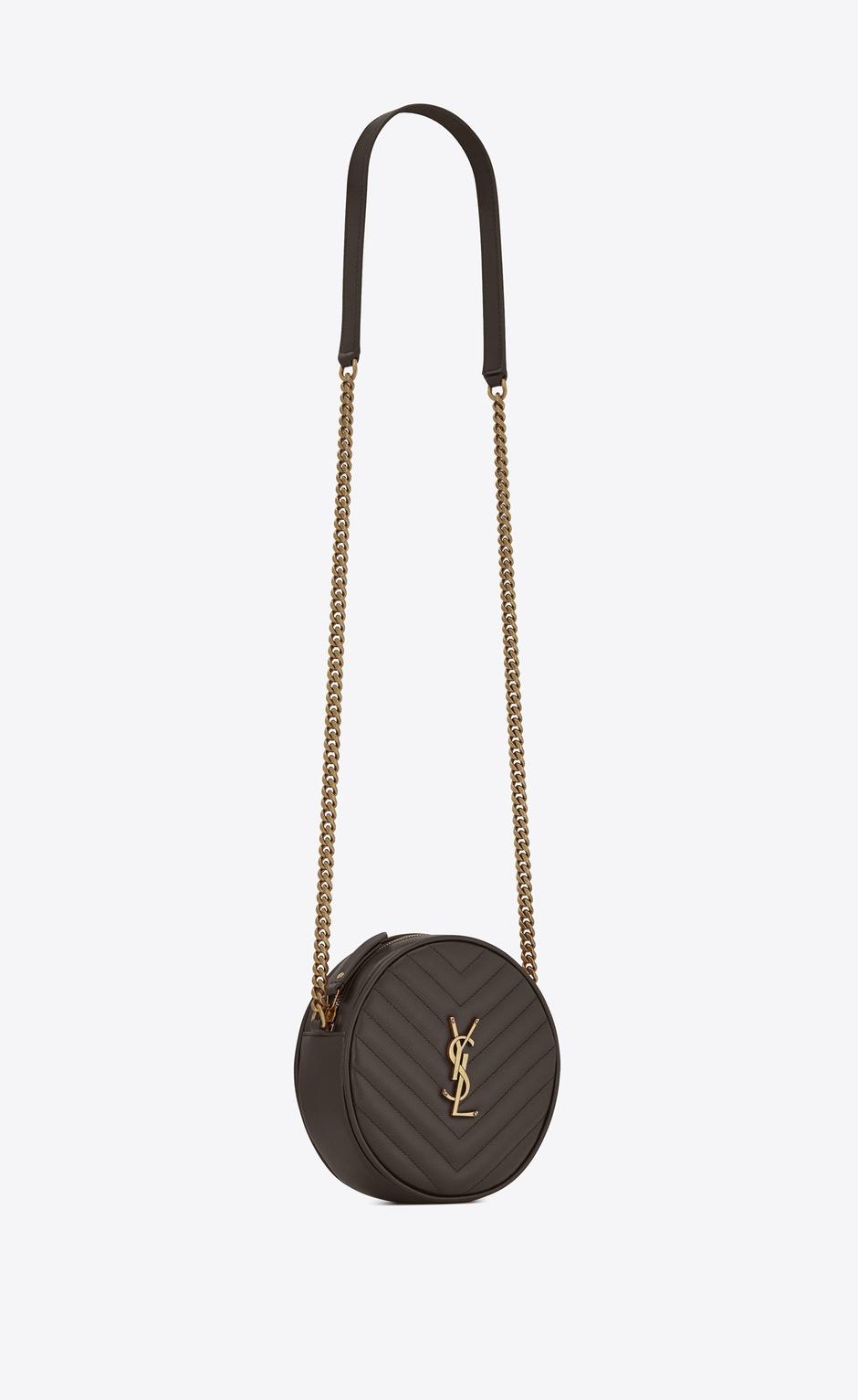 유럽직배송 입생로랑 SAINT LAURENT VINYLE round camera bag in chevron-quilted grain de poudre embossed leather 6104361GF071011