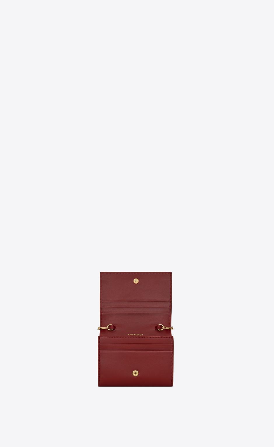 유럽직배송 입생로랑 SAINT LAURENT chain card case in matte leather 6352191JB0J6008