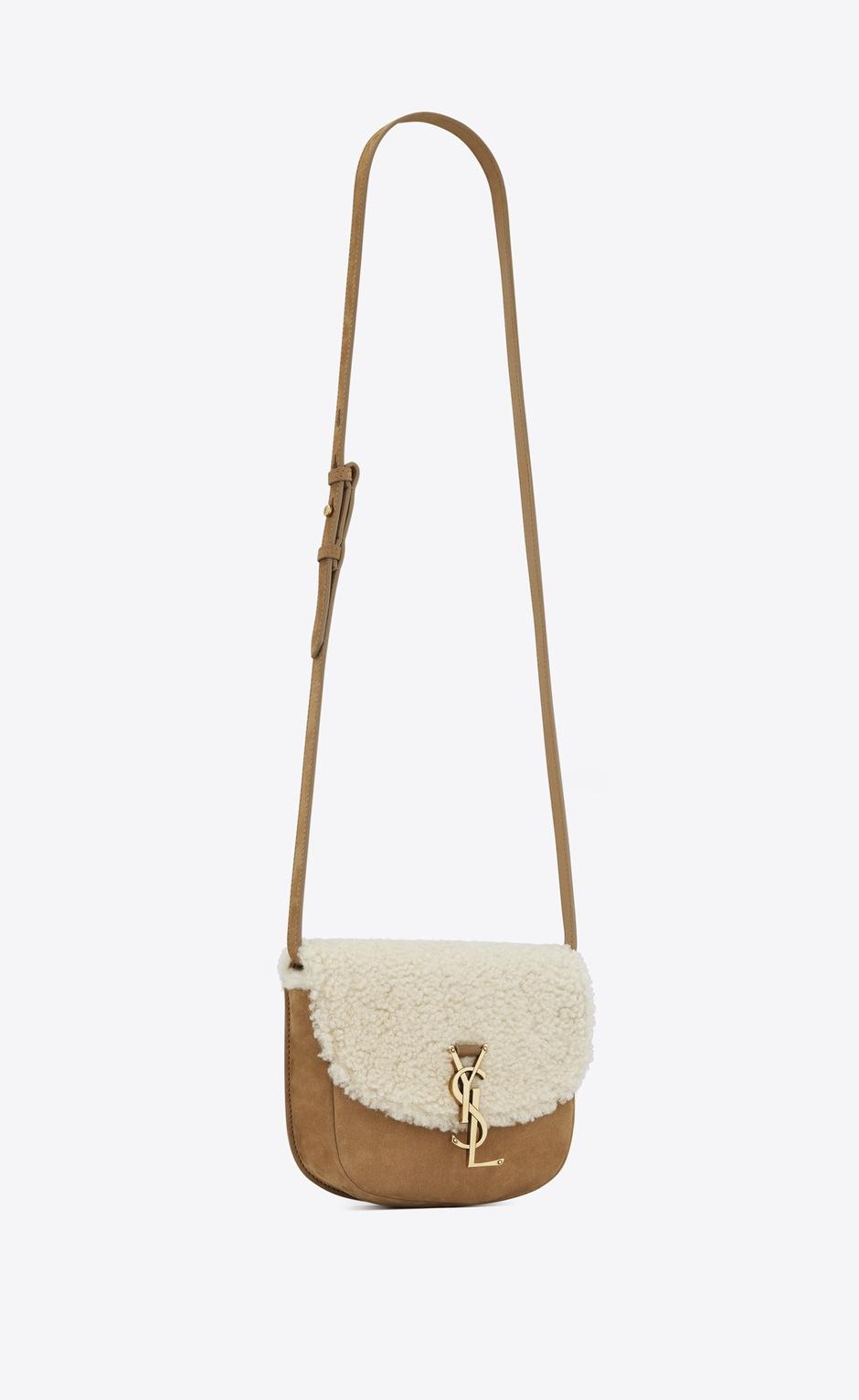유럽직배송 입생로랑 SAINT LAURENT KAIA small satchel in nubuck and shearling 619740BTO8W9276