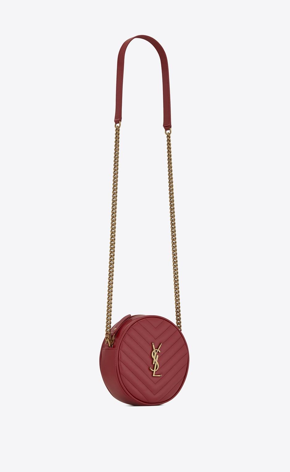 유럽직배송 입생로랑 SAINT LAURENT VINYLE round camera bag in chevron-quilted grain de poudre embossed leather 6104361GF076008