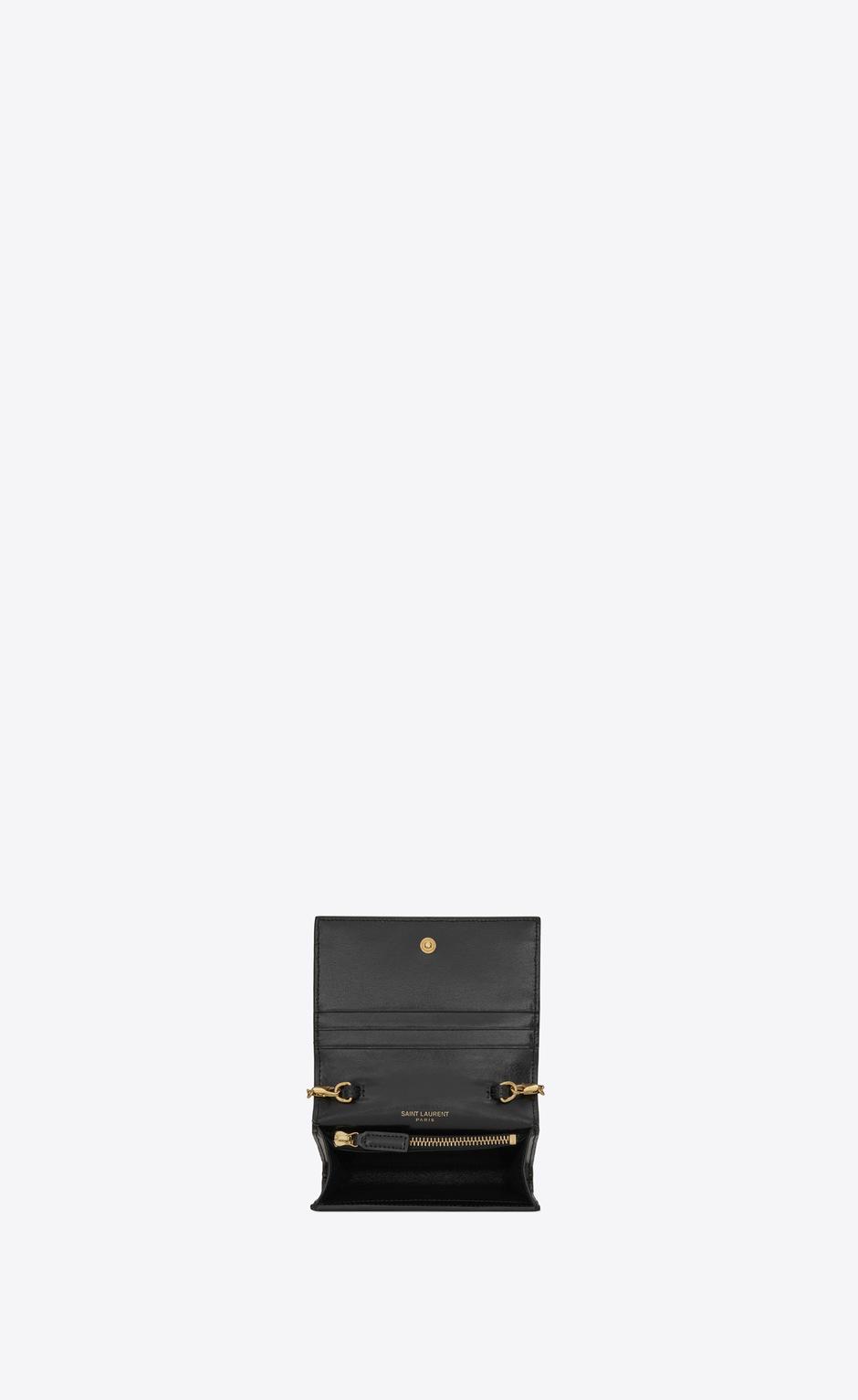 유럽직배송 입생로랑 SAINT LAURENT chain card case in shiny leather 63521903P0J1000