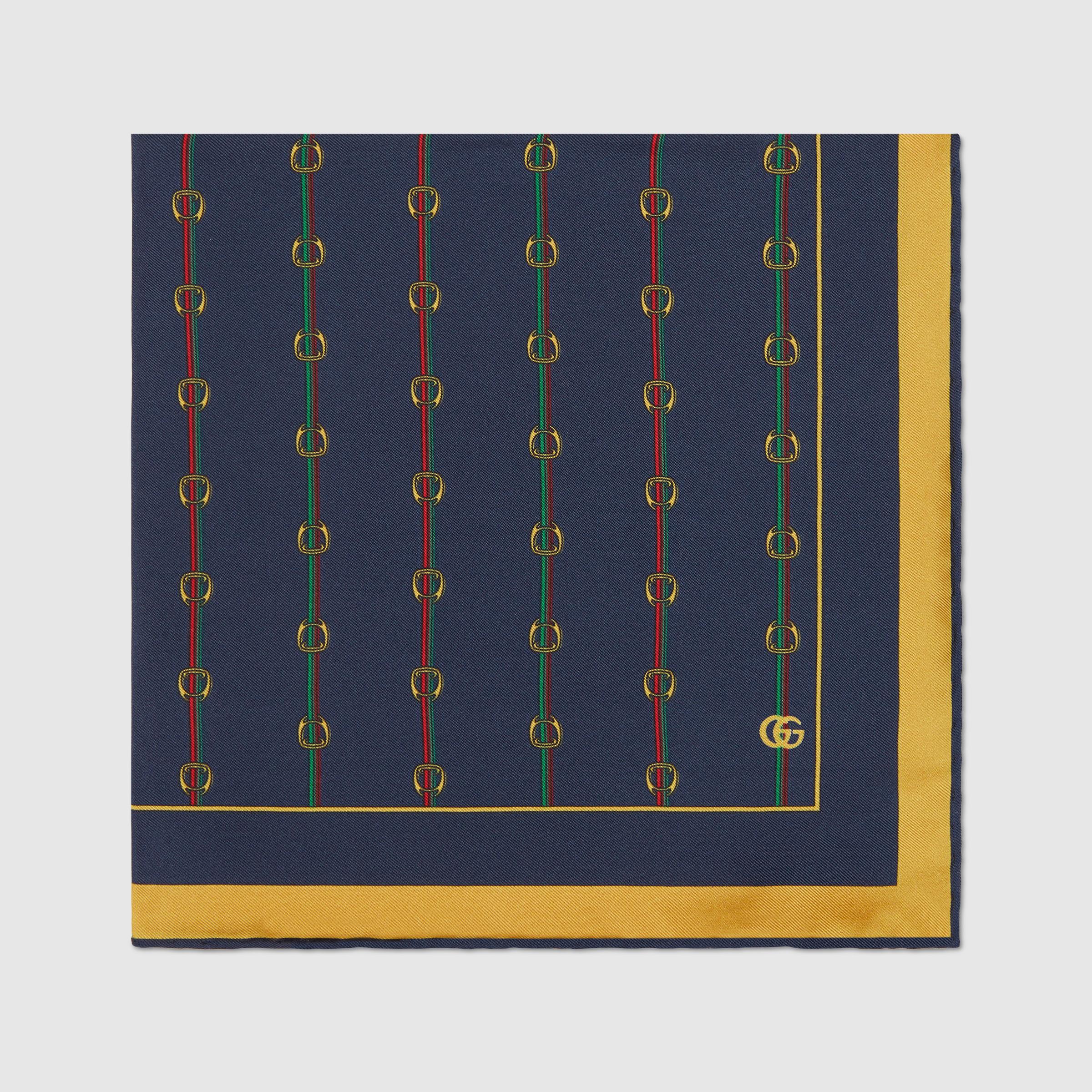 유럽직배송 구찌 GUCCI Gucci Pocket square with Stirrups and Web print 5619894G0014075