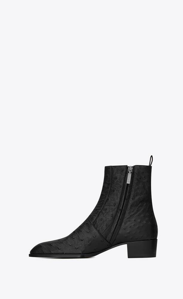 유럽직배송 입생로랑 SAINT LAURENT wyatt boots in ostrich 549295LVO001000