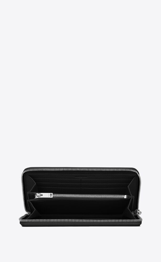 유럽직배송 입생로랑 SAINT LAURENT rive gauche zip around wallet in grained leather 414680B680N1000