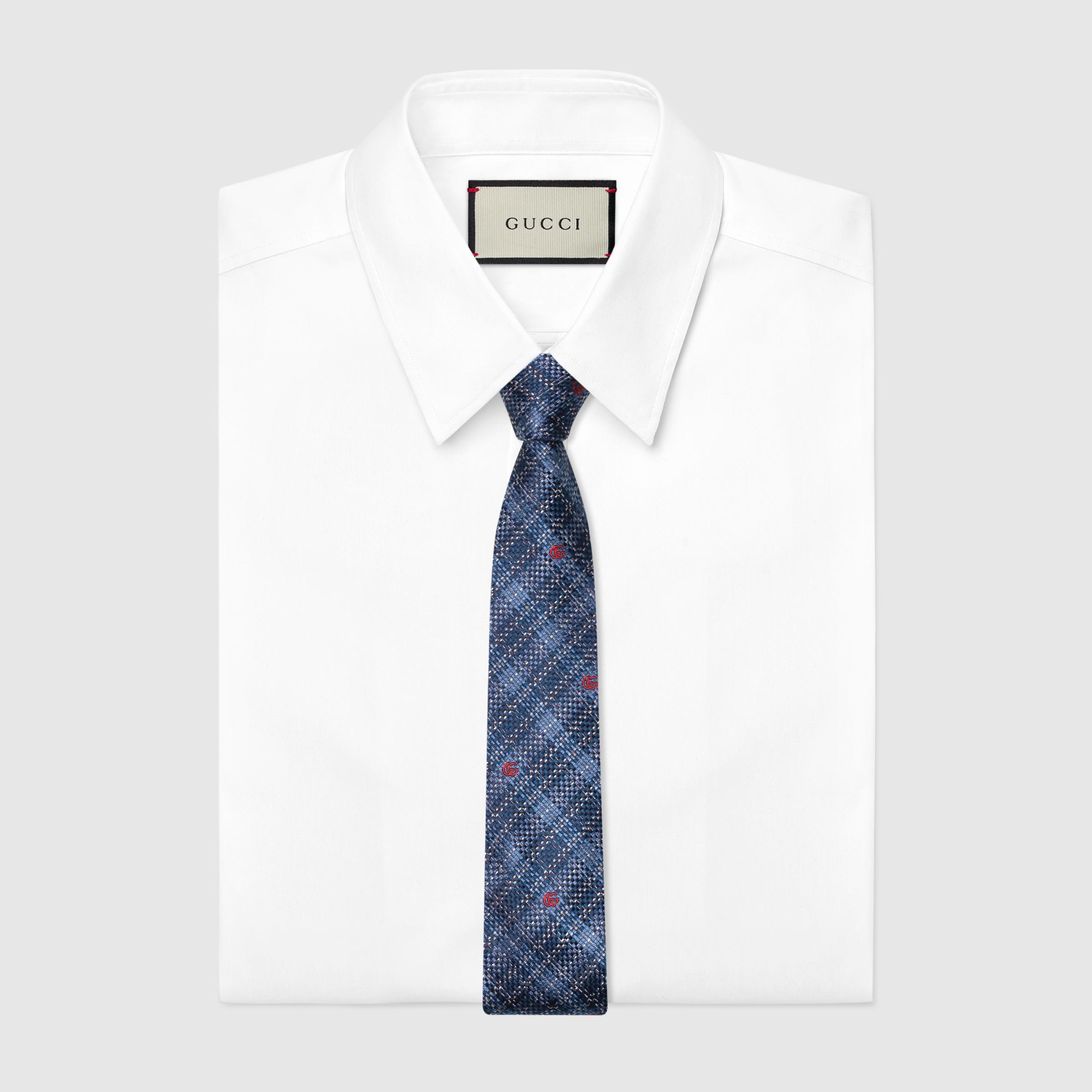 유럽직배송 구찌 GUCCI Gucci Check silk tie 6440034E0024968