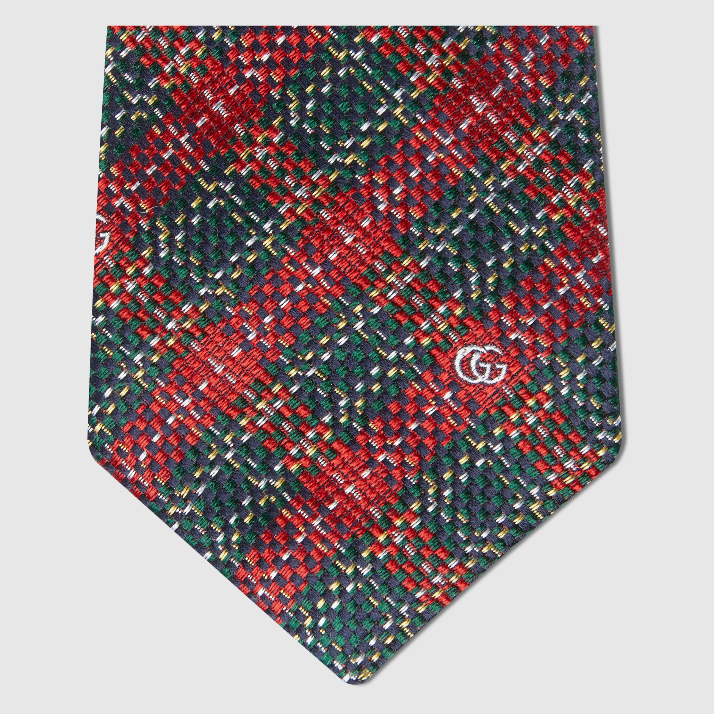 유럽직배송 구찌 GUCCI Gucci Houndstooth silk tie 6440034E0023174