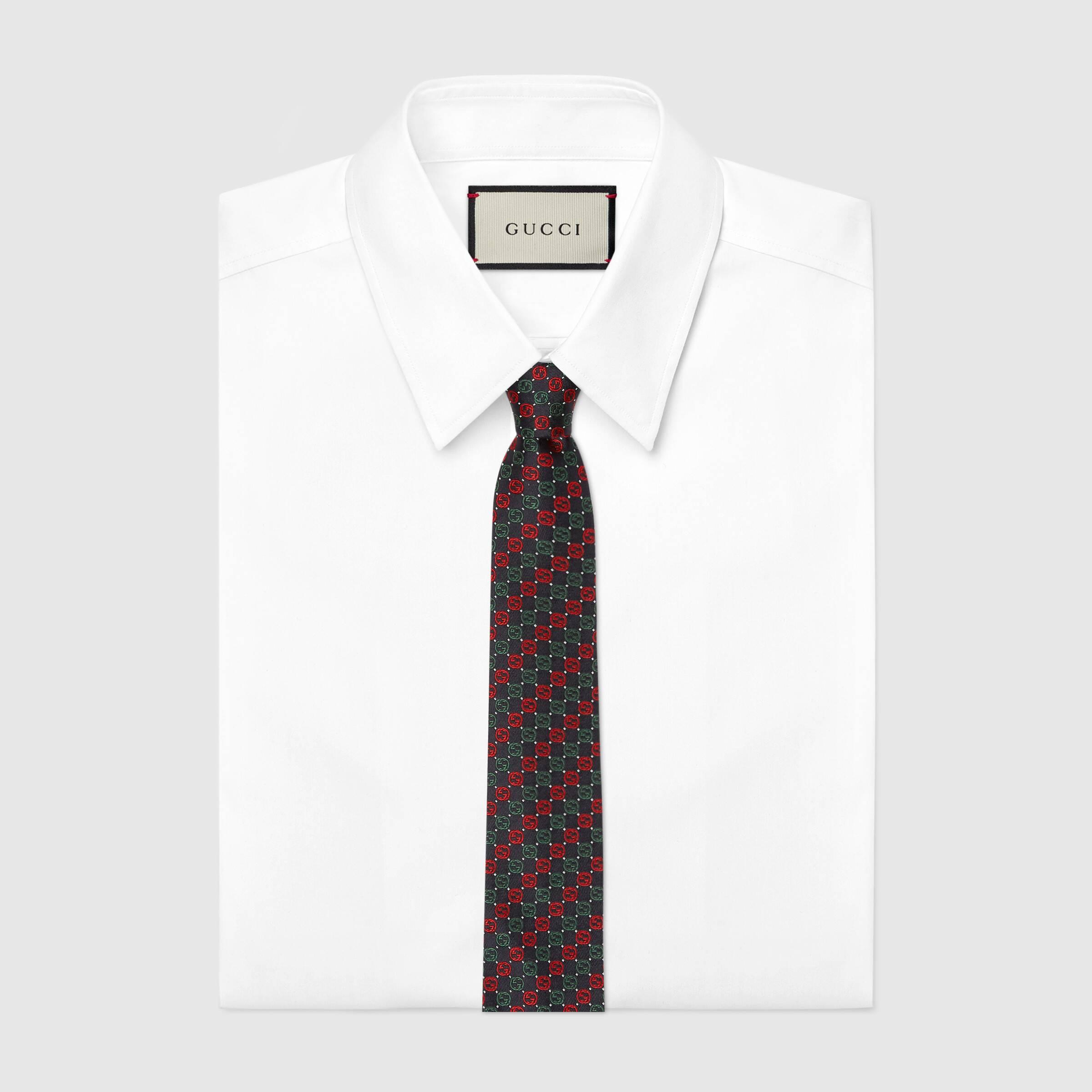 유럽직배송 구찌 GUCCI Gucci Interlocking G silk tie 6445104E0024174