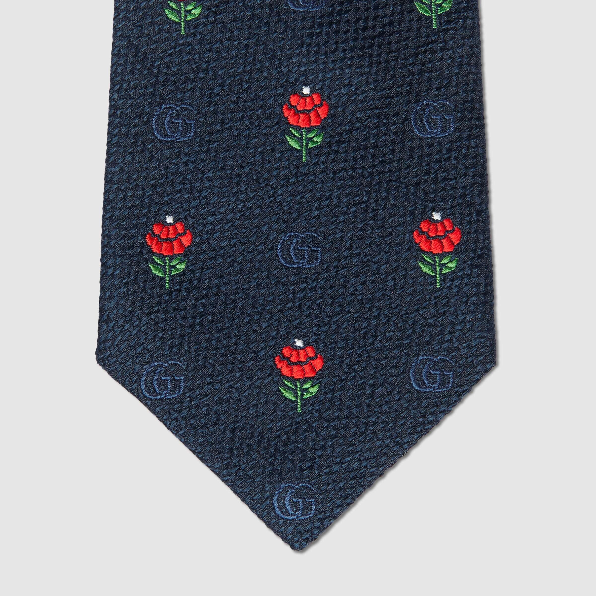 유럽직배송 구찌 GUCCI Gucci Silk tie flowers and Double G 6438404E0024174