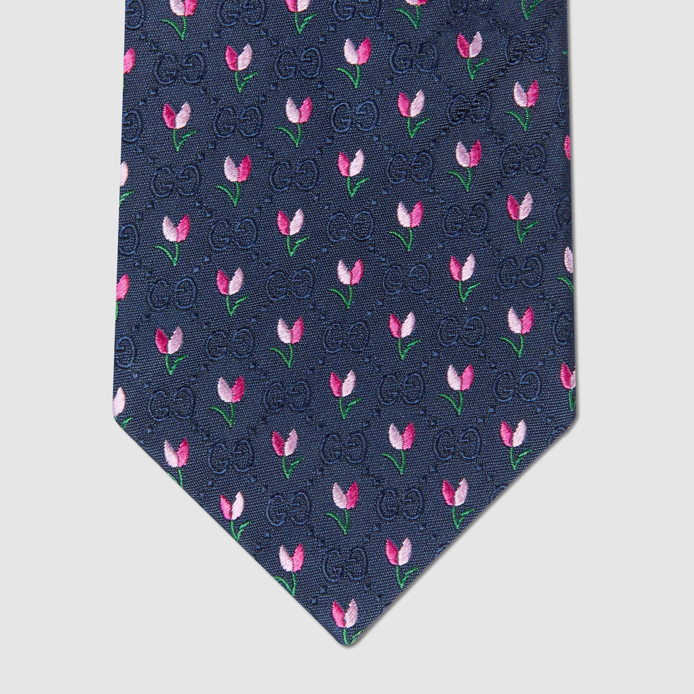 유럽직배송 구찌 GUCCI Gucci GG and flowers silk tie 6438364E0024172