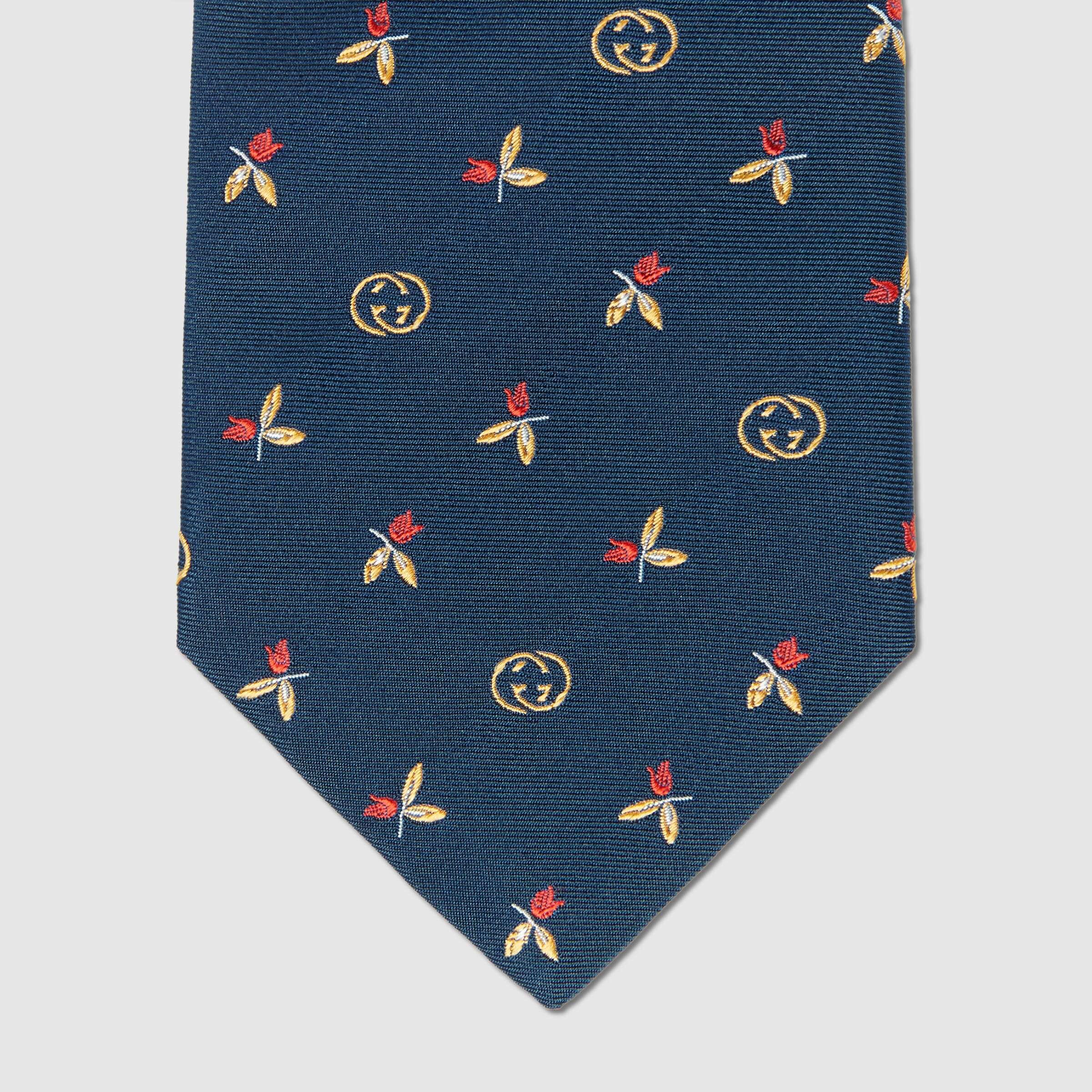 유럽직배송 구찌 GUCCI Gucci Silk tie with flowers and Interlocking G 6438374E0024175