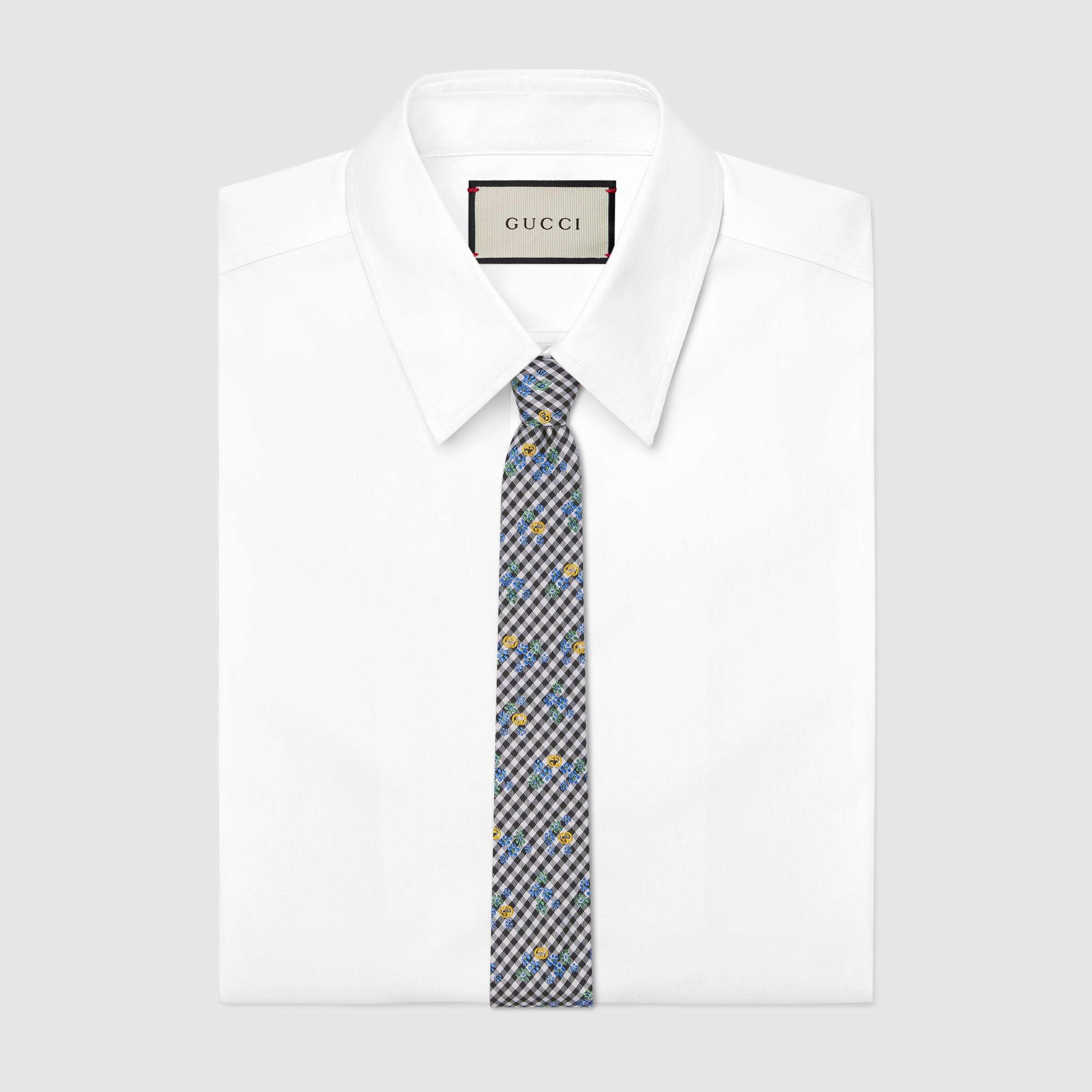 유럽직배송 구찌 GUCCI Gucci Check print silk tie with flowers 6438064E0021069