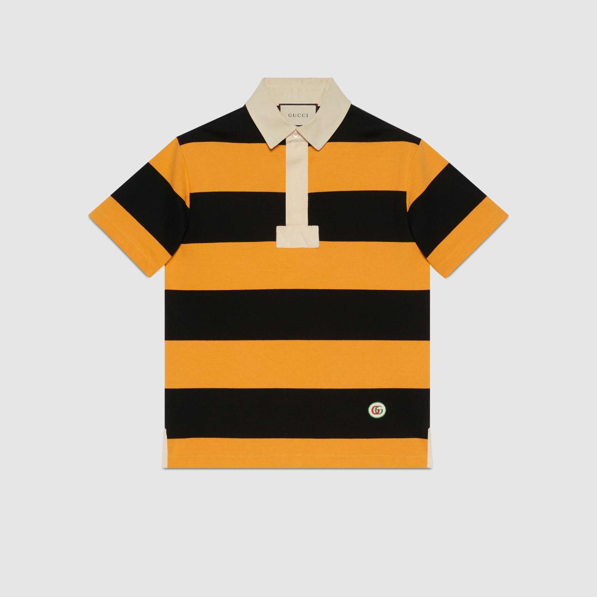 유럽직배송 구찌 GUCCI Gucci Striped cotton polo with patch 645251XJC6F7121