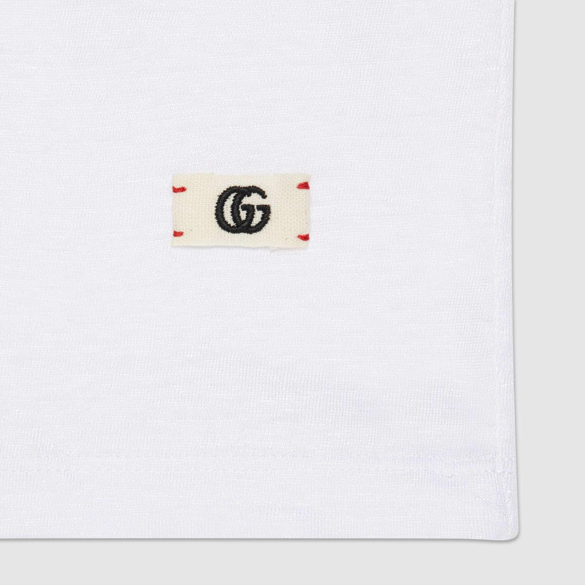 유럽직배송 구찌 GUCCI Gucci Linen V-neck T-shirt with Double G 645270XJC6N9692