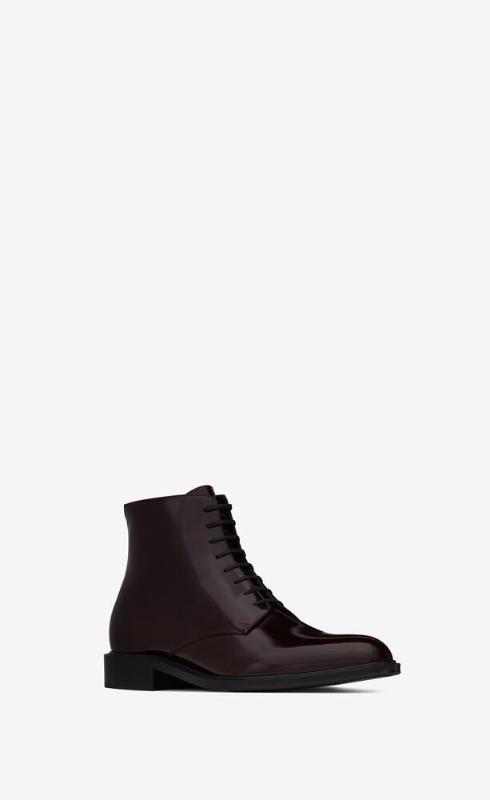 유럽직배송 입생로랑 SAINT LAURENT army laced boots in shiny leather 6323581YZ006014