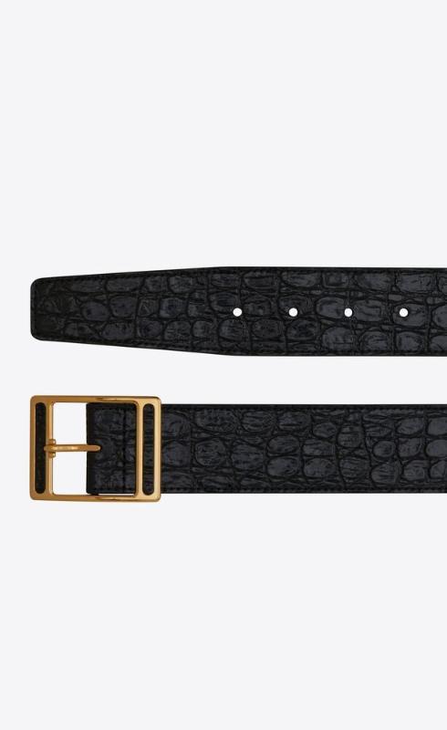 유럽직배송 입생로랑 SAINT LAURENT screen buckle belt in crocodile-embossed leather 6503281ZQ0J1000