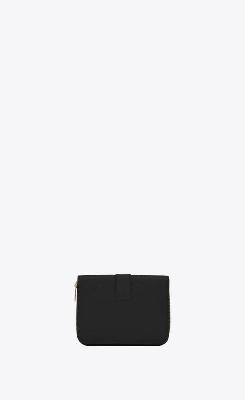 유럽직배송 입생로랑 SAINT LAURENT ysl line compact zippered wallet in grained leather 532867B680J1000