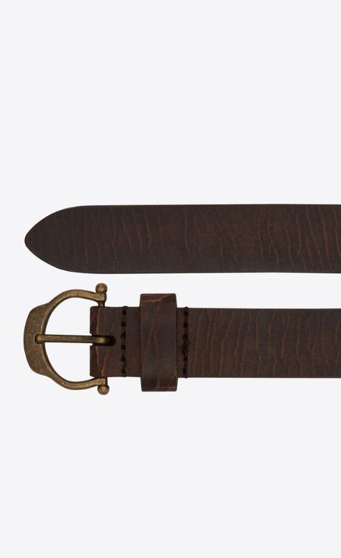 유럽직배송 입생로랑 SAINT LAURENT horseshoe buckle thin belt in crackled leather 64921018N0B2032