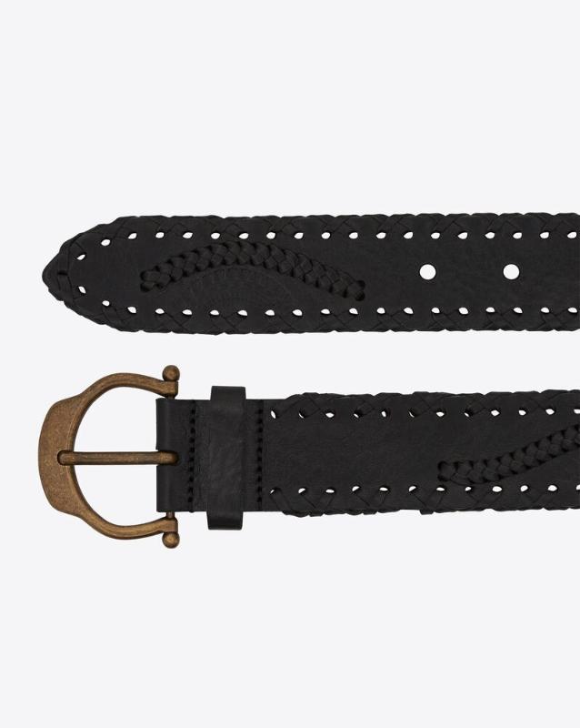 유럽직배송 입생로랑 SAINT LAURENT horseshoe buckle belt in embossed and braided leather 6492111Q72B1000