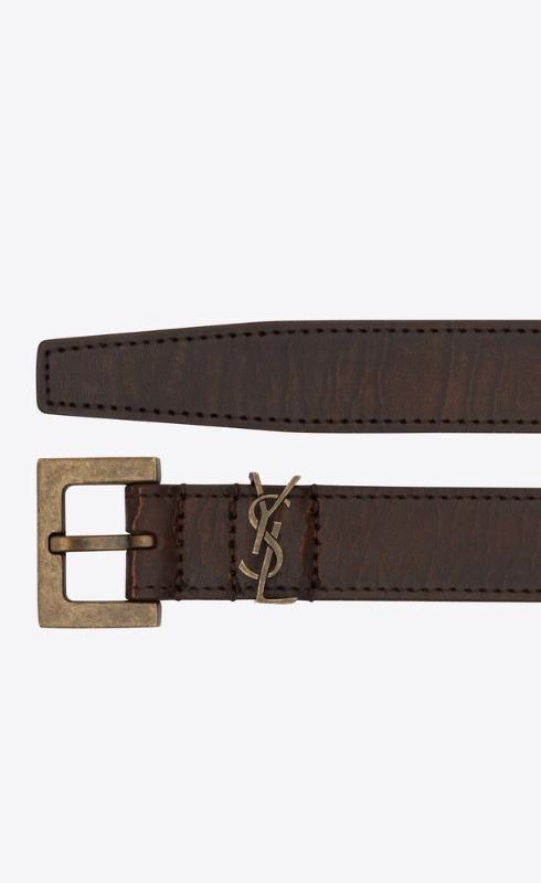 유럽직배송 입생로랑 SAINT LAURENT monogram narrow belt in crackled leather 61261618N0B2032