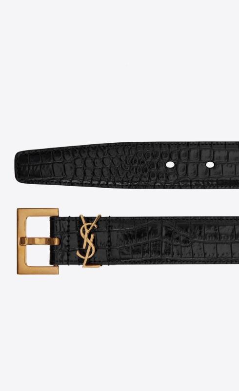 유럽직배송 입생로랑 SAINT LAURENT monogram belt with square buckle in crocodile embossed leather 558088DND0J1000