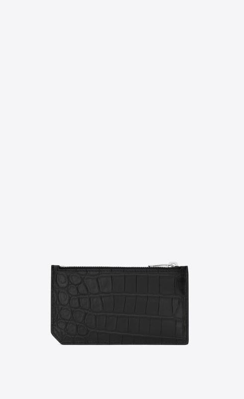 유럽직배송 입생로랑 SAINT LAURENT fragments zipped card case in crocodile embossed leather 631992DZE0N1000