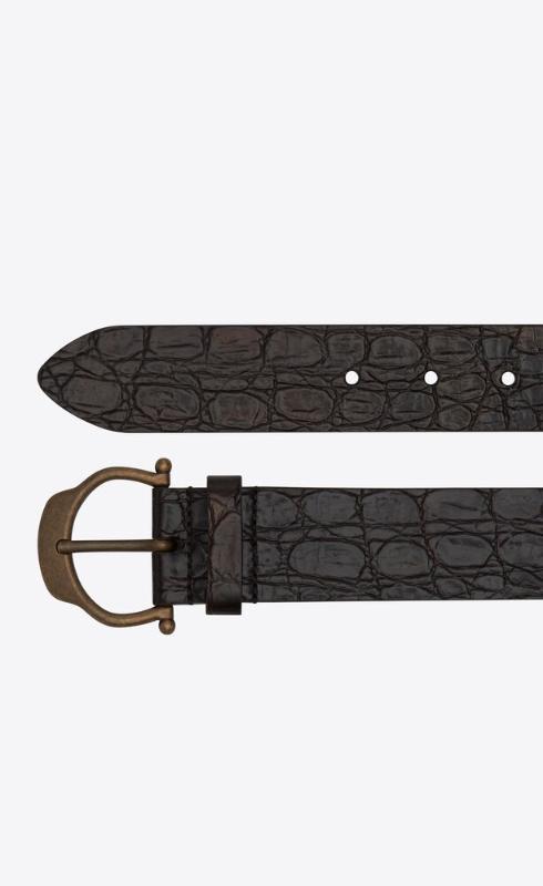 유럽직배송 입생로랑 SAINT LAURENT horseshoe buckle belt in crocodile-embossed leather 6492051ZQ0B2053